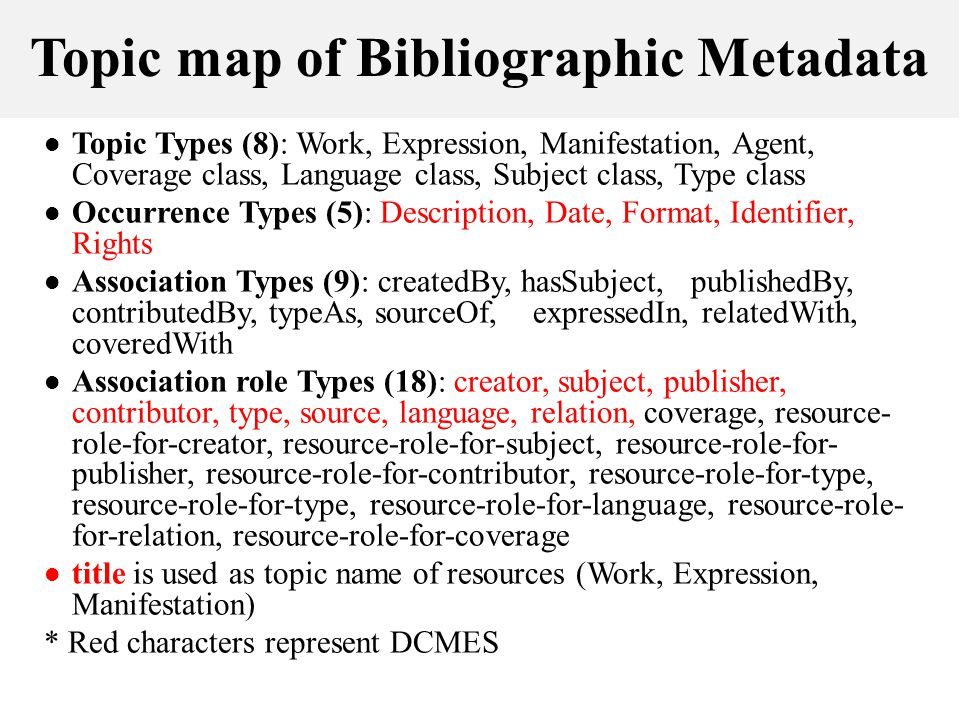Topic map of Bibliographic Metadata Topic Types (8): Work, Expression, Manifestation, Agent, Coverage class, Language class, Subject class, Type class Occurrence Types (5): Description, Date, Format, Identifier, Rights Association Types (9): createdBy, hasSubject, publishedBy, contributedBy, typeAs, sourceOf, expressedIn, relatedWith, coveredWith Association role Types (18): creator, subject, publisher, contributor, type, source, language, relation, coverage, resource- role-for-creator, resource-role-for-subject, resource-role-for- publisher, resource-role-for-contributor, resource-role-for-type, resource-role-for-type, resource-role-for-language, resource-role- for-relation, resource-role-for-coverage title is used as topic name of resources (Work, Expression, Manifestation) * Red characters represent DCMES