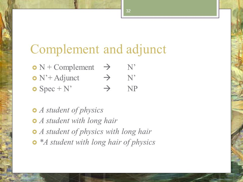 Complement and adjunct N + Complement N N+ Adjunct N Spec + N NP A student of physics A student with long hair A student of physics with long hair *A student with long hair of physics 32