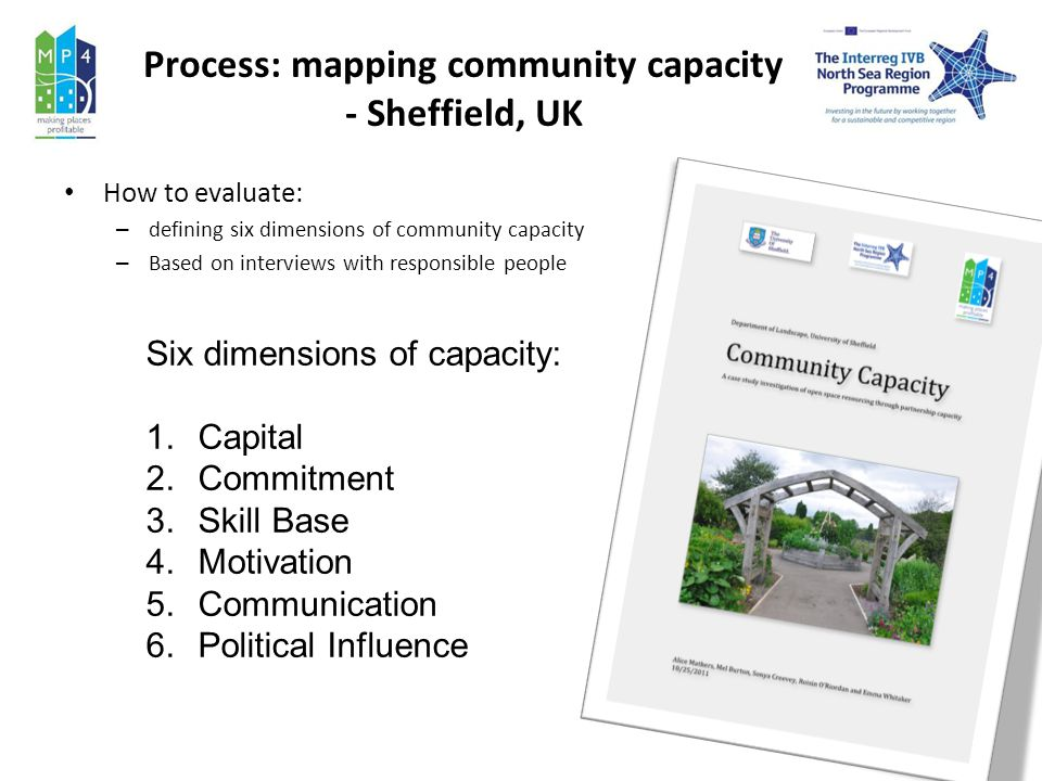 Process: mapping community capacity - Sheffield, UK How to evaluate: – defining six dimensions of community capacity – Based on interviews with responsible people Six dimensions of capacity: 1.Capital 2.Commitment 3.Skill Base 4.Motivation 5.Communication 6.Political Influence