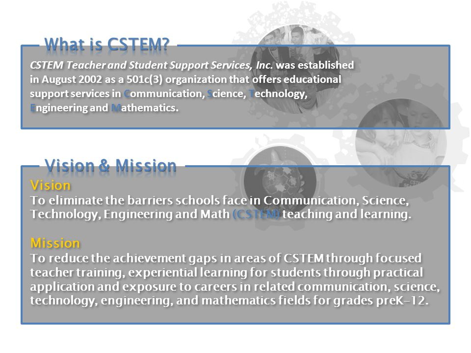 Vision To eliminate the barriers schools face in Communication, Science, Technology, Engineering and Math (CSTEM) teaching and learning.