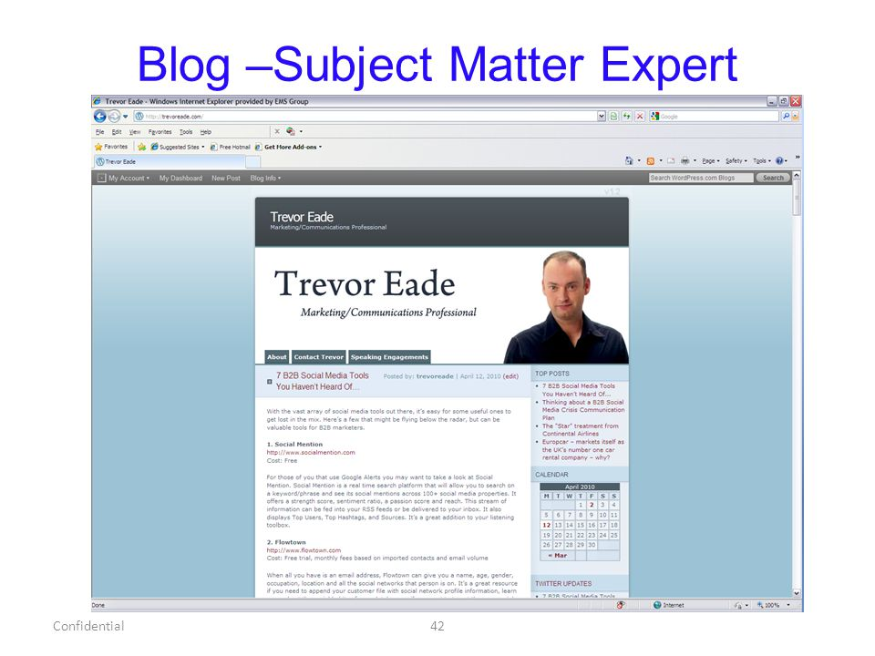 Blog –Subject Matter Expert Confidential42