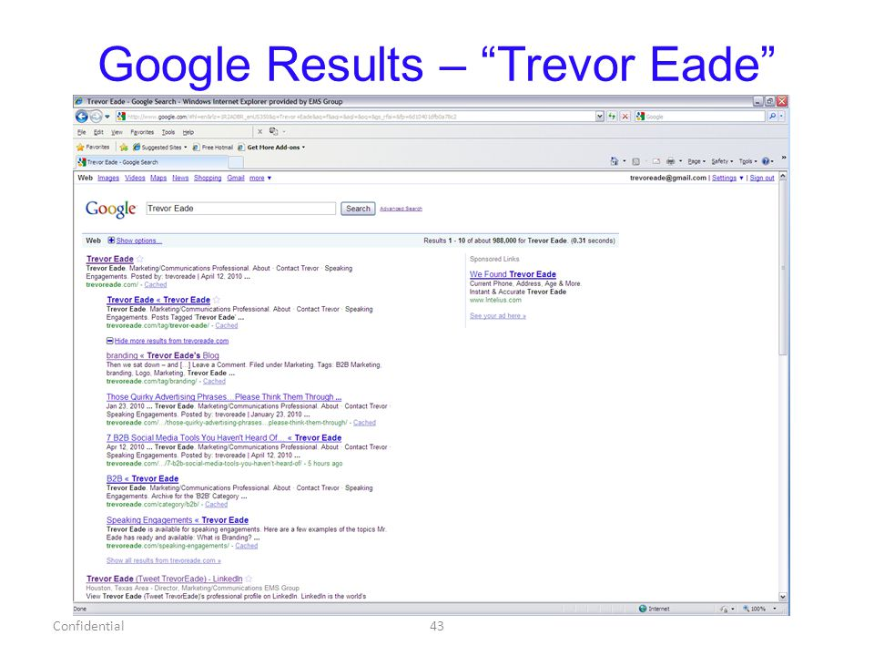 Google Results – Trevor Eade Confidential43