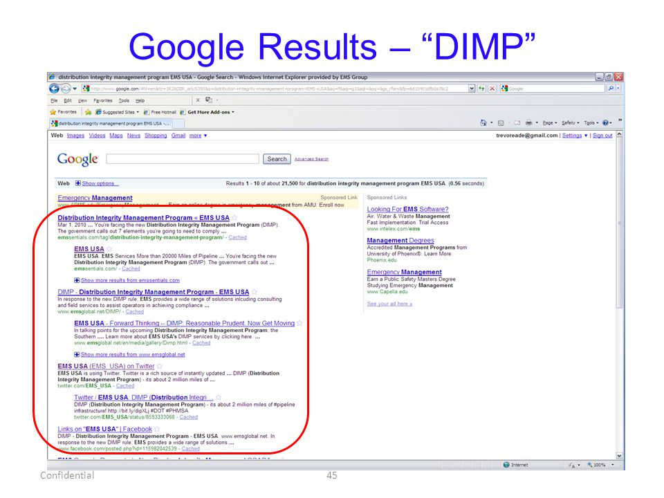 Google Results – DIMP Confidential45