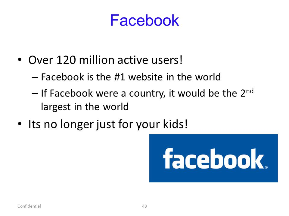 Facebook Over 120 million active users.
