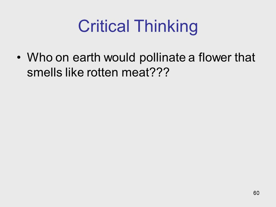 60 Critical Thinking Who on earth would pollinate a flower that smells like rotten meat???