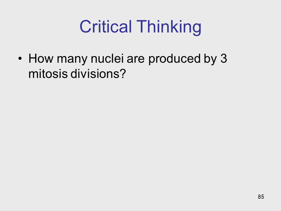 85 Critical Thinking How many nuclei are produced by 3 mitosis divisions?
