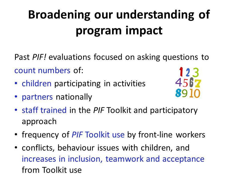 Broadening our understanding of program impact Past PIF.