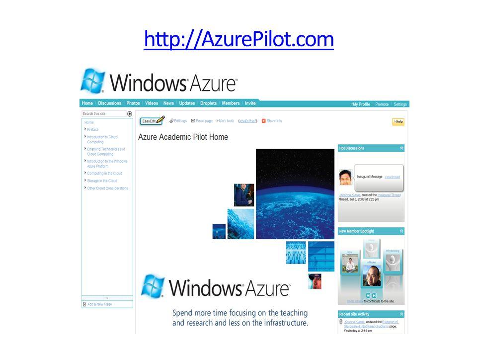 .NET Services Windows Azure Applications SQL Azure Others Windows Mobile Windows Vista/XP Windows Server Fabric Storage Config Compute Application Windows Azure An illustration