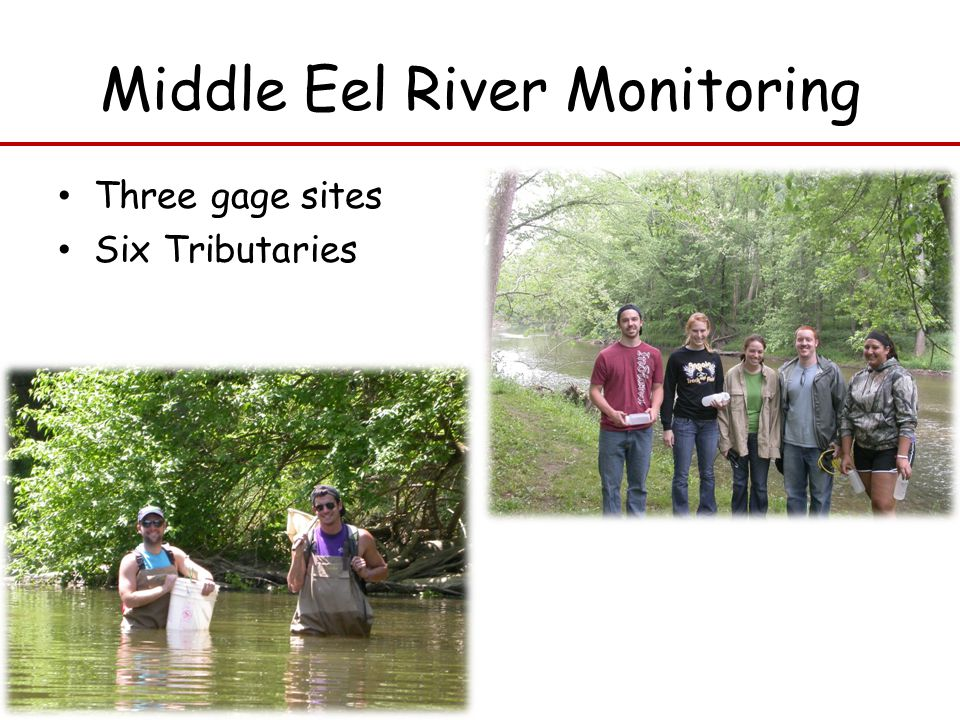 Middle Eel River Monitoring Three gage sites Six Tributaries