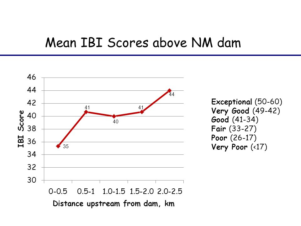 Mean IBI Scores above NM dam Exceptional (50-60) Very Good (49-42) Good (41-34) Fair (33-27) Poor (26-17) Very Poor (<17)