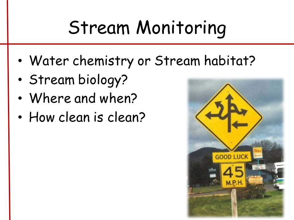 Stream Monitoring Water chemistry or Stream habitat.
