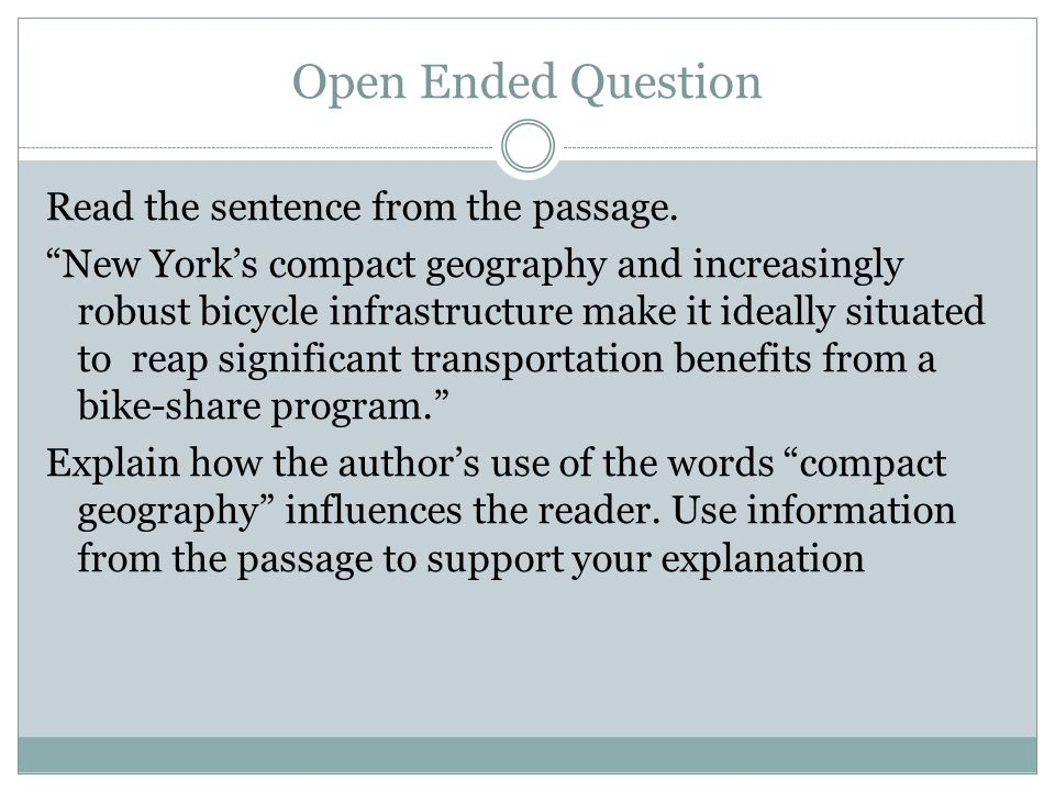 Open Ended Question Read the sentence from the passage.
