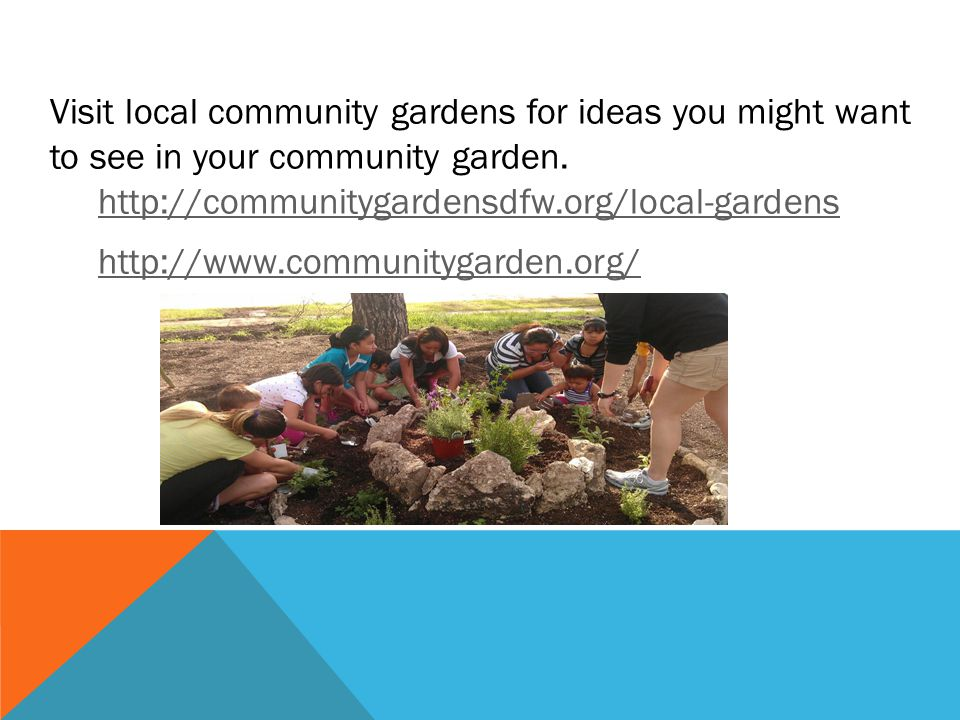 Visit local community gardens for ideas you might want to see in your community garden. http://communitygardensdfw.org/local-gardens http://www.commun