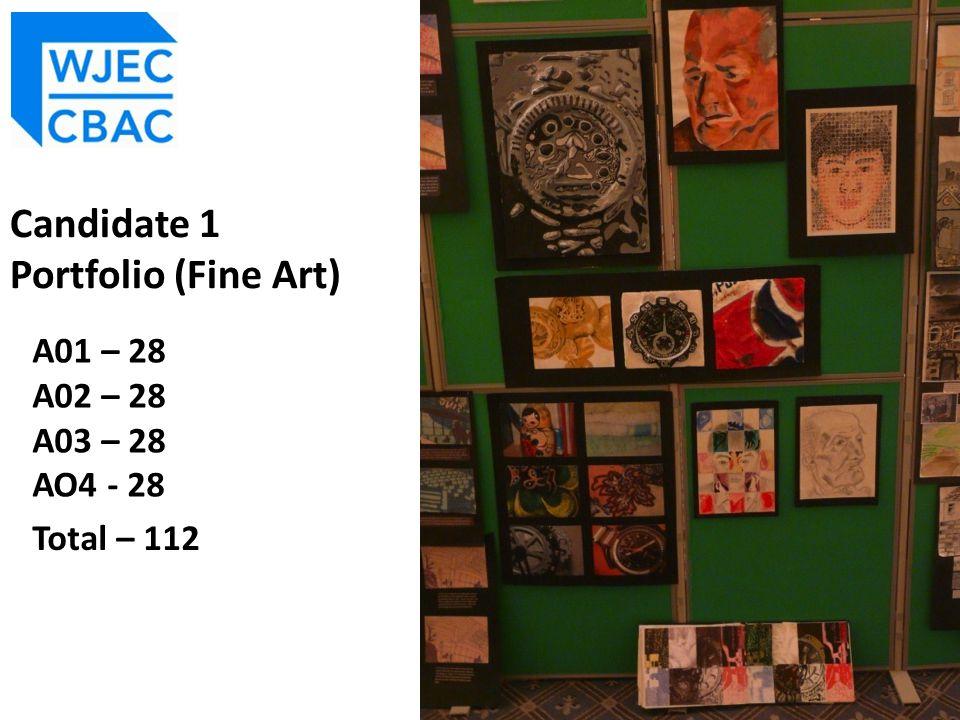 A01 – 28 A02 – 28 A03 – 28 AO4 - 28 Total – 112 Candidate 1 Portfolio (Fine Art)