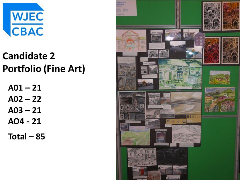 A01 – 21 A02 – 22 A03 – 21 AO4 - 21 Total – 85 Candidate 2 Portfolio (Fine Art)