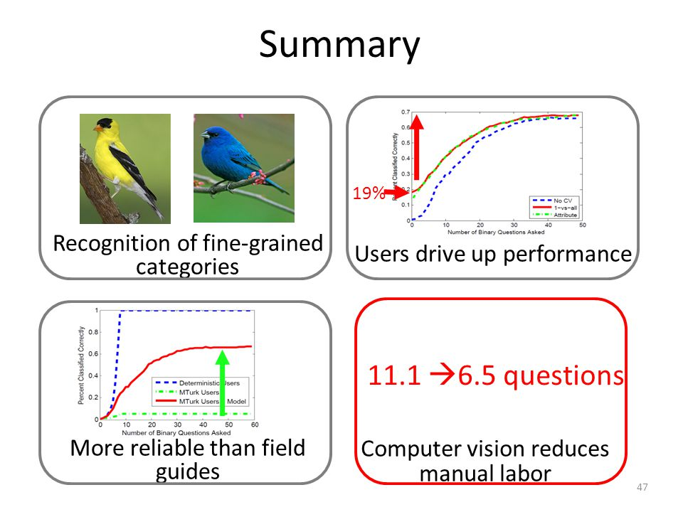 Summary 11.1 6.5 questions Computer vision reduces manual labor Users drive up performance 19% 47 Recognition of fine-grained categories More reliable than field guides