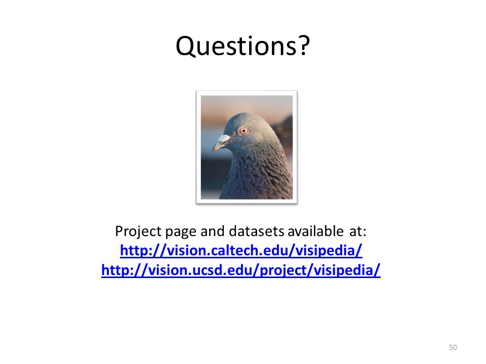 Questions? Project page and datasets available at: http://vision.caltech.edu/visipedia/ http://vision.ucsd.edu/project/visipedia/ 50