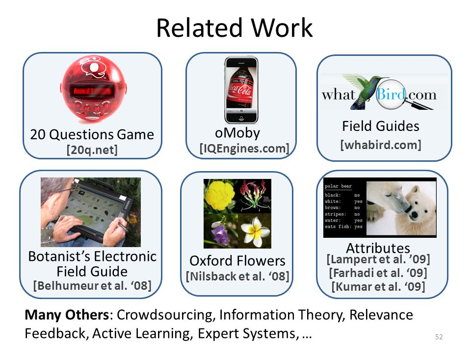 Related Work 20 Questions Game [20q.net] oMoby [IQEngines.com] Many Others: Crowdsourcing, Information Theory, Relevance Feedback, Active Learning, Expert Systems, … Field Guides [whabird.com] Botanists Electronic Field Guide [Belhumeur et al.