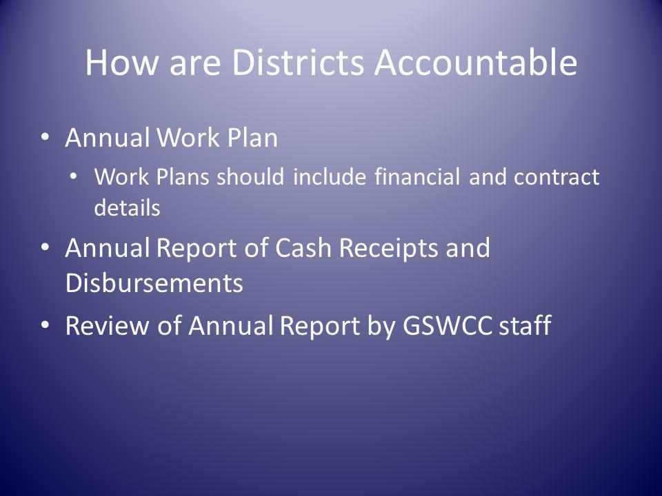 How are Districts Accountable Annual Work Plan Work Plans should include financial and contract details Annual Report of Cash Receipts and Disbursements Review of Annual Report by GSWCC staff
