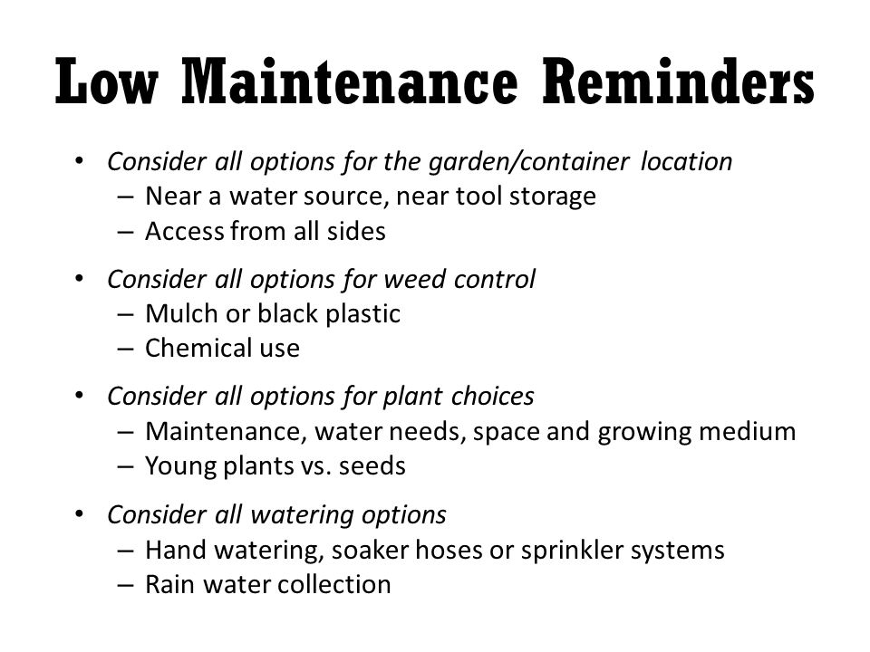 Low Maintenance Reminders Consider all options for the garden/container location – Near a water source, near tool storage – Access from all sides Consider all options for weed control – Mulch or black plastic – Chemical use Consider all options for plant choices – Maintenance, water needs, space and growing medium – Young plants vs.