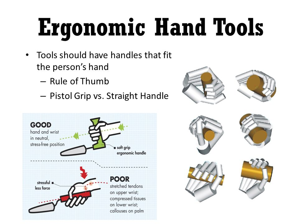 Tools should have handles that fit the persons hand – Rule of Thumb – Pistol Grip vs.
