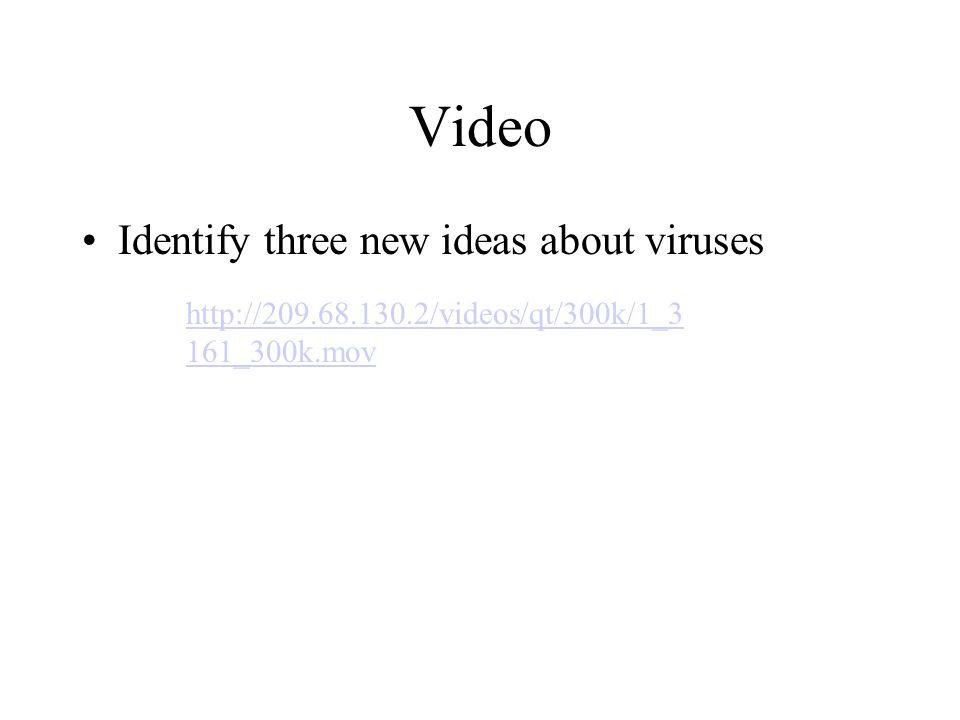 Video Identify three new ideas about viruses http://209.68.130.2/videos/qt/300k/1_3 161_300k.mov