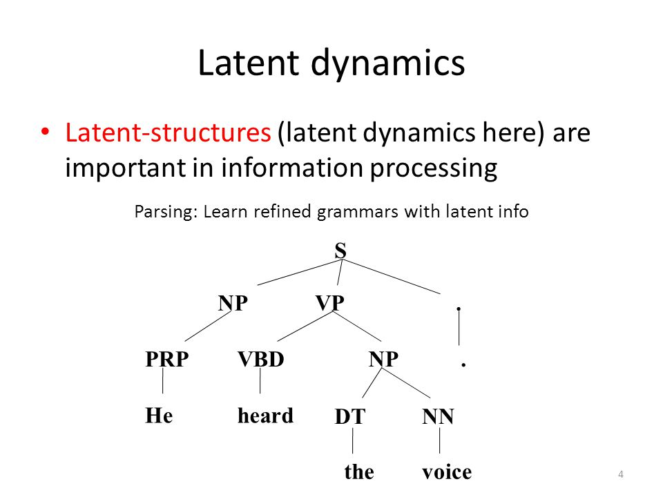Latent dynamics Latent-structures (latent dynamics here) are important in information processing Parsing: Learn refined grammars with latent info S VPNP PRP.