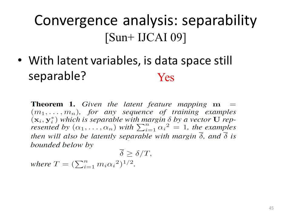 Convergence analysis: separability [Sun+ IJCAI 09] With latent variables, is data space still separable.