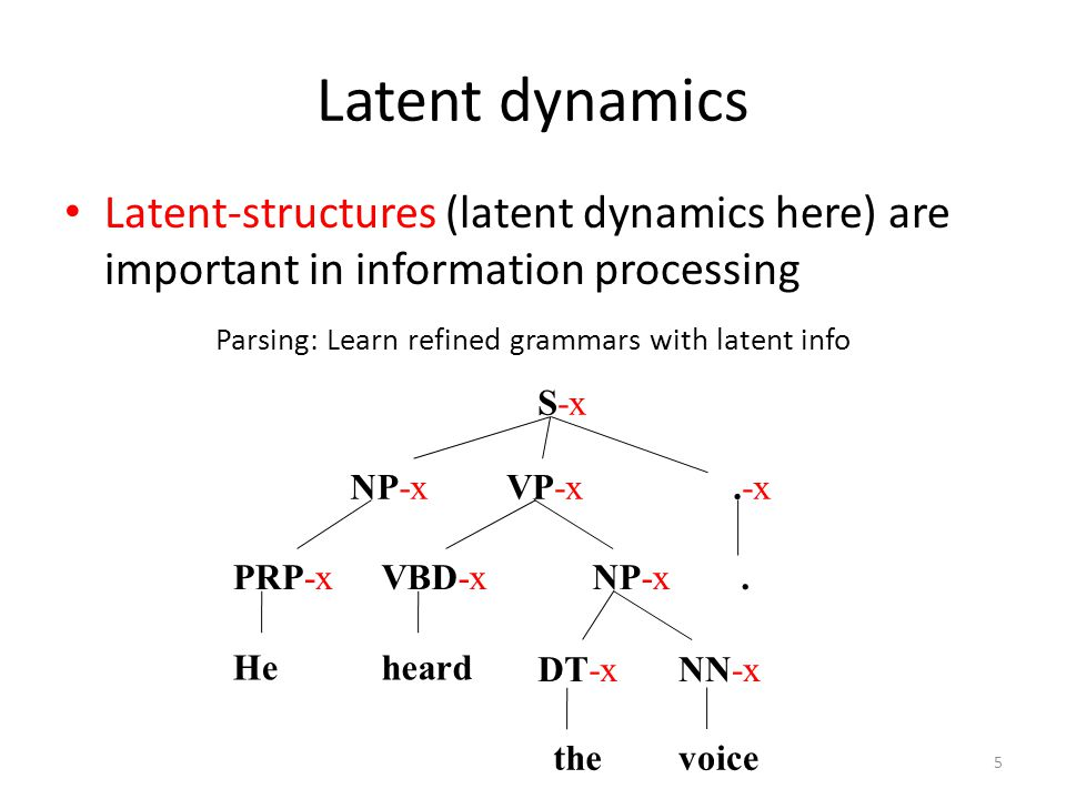 Latent dynamics Latent-structures (latent dynamics here) are important in information processing Parsing: Learn refined grammars with latent info S-x VP-xNP-x PRP-x.-x VBD-x He.