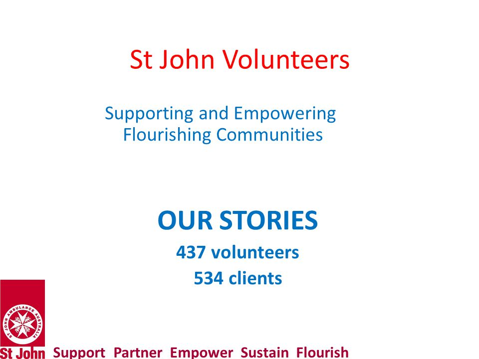 St John Volunteers Supporting and Empowering Flourishing Communities OUR STORIES 437 volunteers 534 clients Support Partner Empower Sustain Flourish