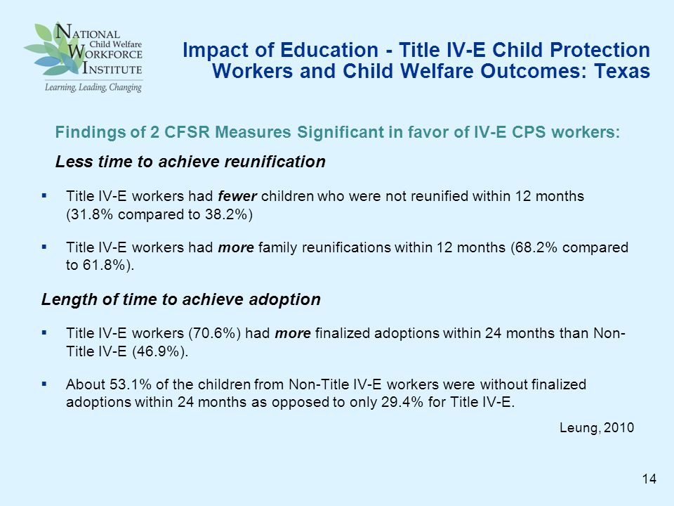 Impact of Education - Title IV-E Child Protection Workers and Child Welfare Outcomes: Texas Findings of 2 CFSR Measures Significant in favor of IV-E CPS workers: Less time to achieve reunification Title IV-E workers had fewer children who were not reunified within 12 months (31.8% compared to 38.2%) Title IV-E workers had more family reunifications within 12 months (68.2% compared to 61.8%).