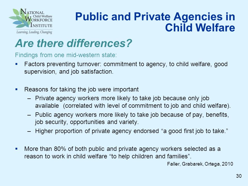 Public and Private Agencies in Child Welfare Are there differences.