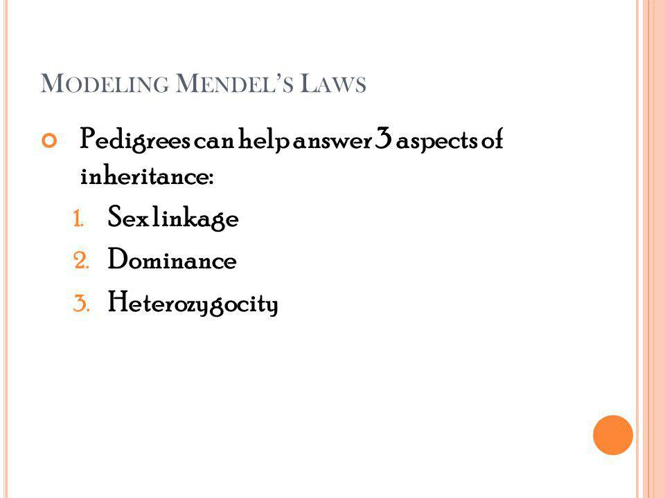 M ODELING M ENDEL S L AWS Pedigrees can help answer 3 aspects of inheritance: 1.
