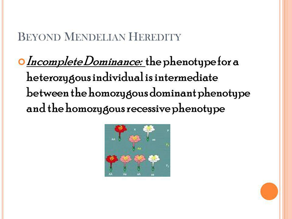 B EYOND M ENDELIAN H EREDITY Incomplete Dominance: the phenotype for a heterozygous individual is intermediate between the homozygous dominant phenotype and the homozygous recessive phenotype