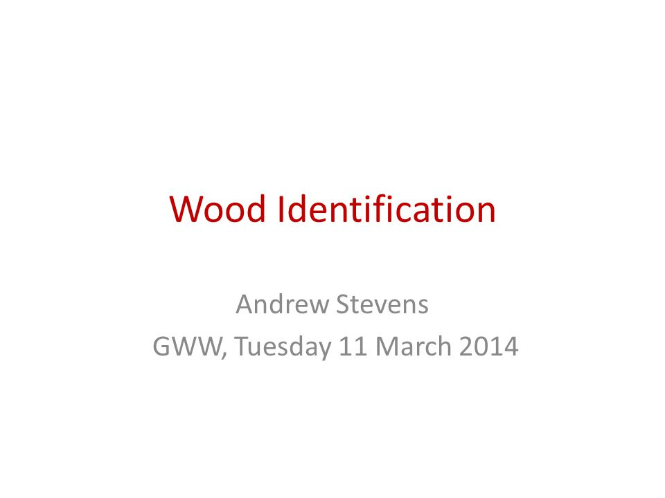 Wood Identification Andrew Stevens GWW, Tuesday 11 March 2014