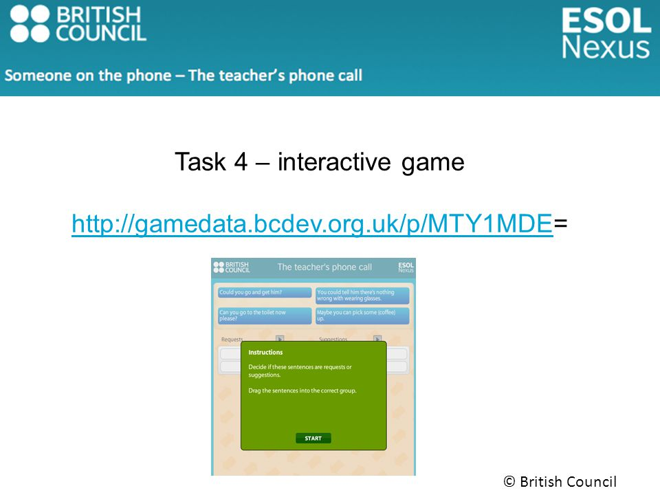 Task 4 – interactive game http://gamedata.bcdev.org.uk/p/MTY1MDEhttp://gamedata.bcdev.org.uk/p/MTY1MDE=