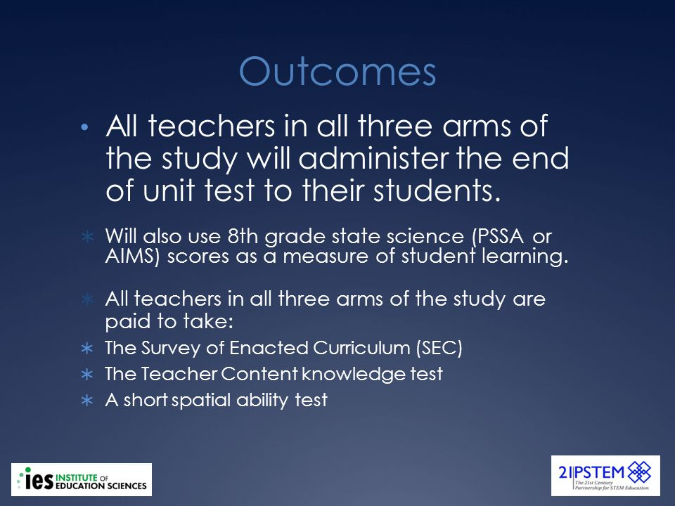 Outcomes All teachers in all three arms of the study will administer the end of unit test to their students.