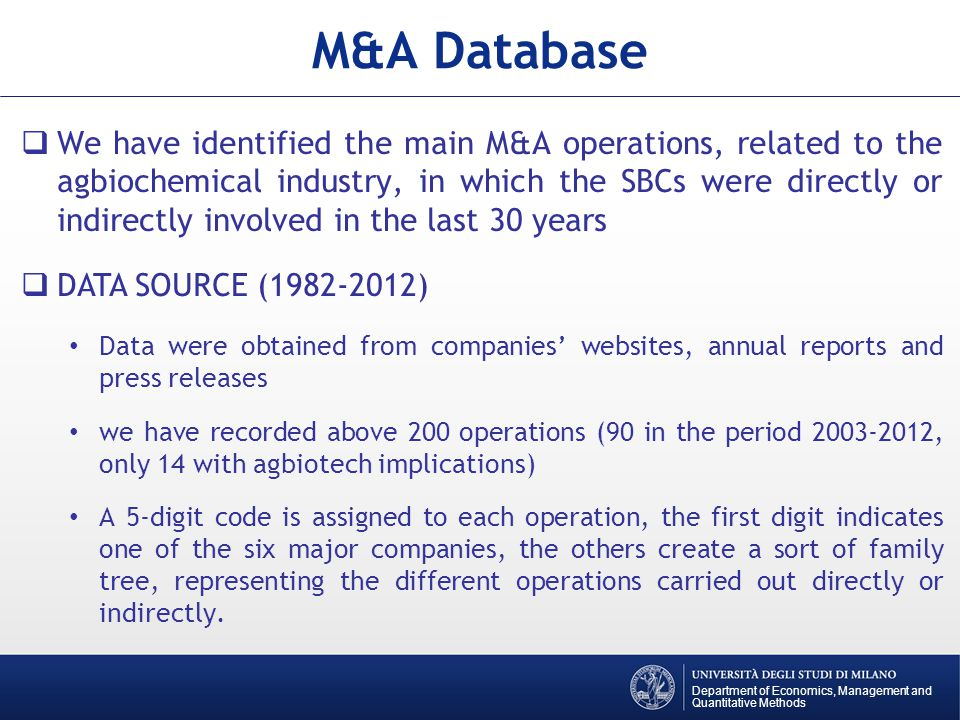 We have identified the main M&A operations, related to the agbiochemical industry, in which the SBCs were directly or indirectly involved in the last