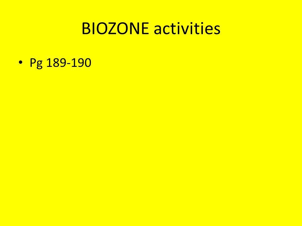 BIOZONE activities Pg 189-190