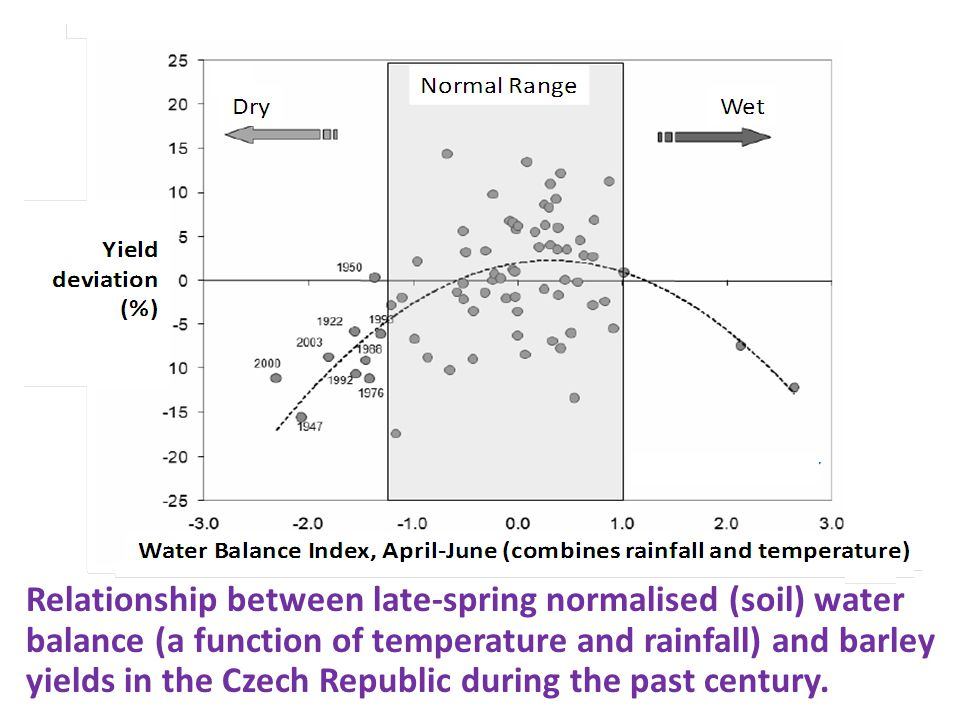 Relationship between late-spring normalised (soil) water balance (a function of temperature and rainfall) and barley yields in the Czech Republic during the past century.
