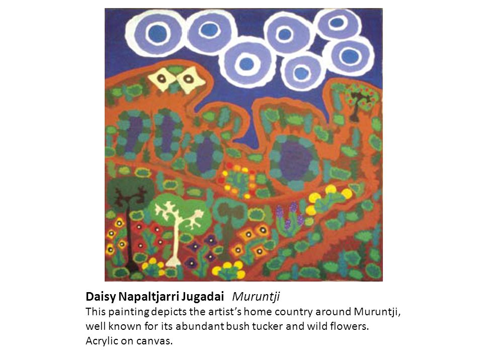 Daisy Napaltjarri Jugadai Muruntji This painting depicts the artists home country around Muruntji, well known for its abundant bush tucker and wild flowers.