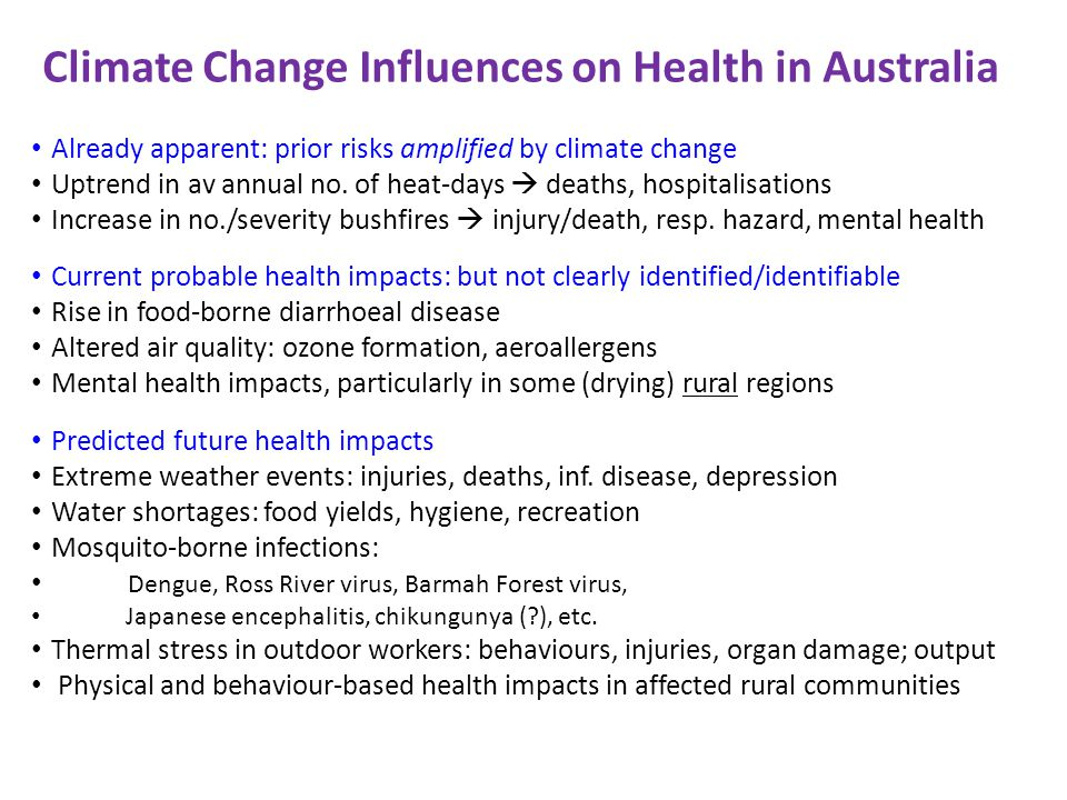 Climate Change Influences on Health in Australia Already apparent: prior risks amplified by climate change Uptrend in av annual no. of heat-days death
