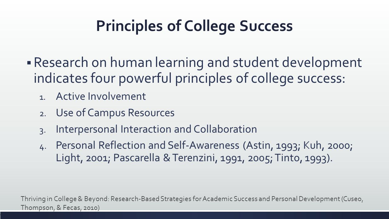 Principles of College Success Research on human learning and student development indicates four powerful principles of college success: 1. Active Invo