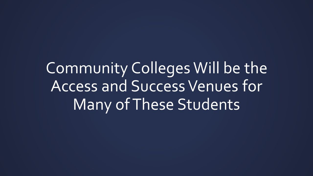Community Colleges Will be the Access and Success Venues for Many of These Students