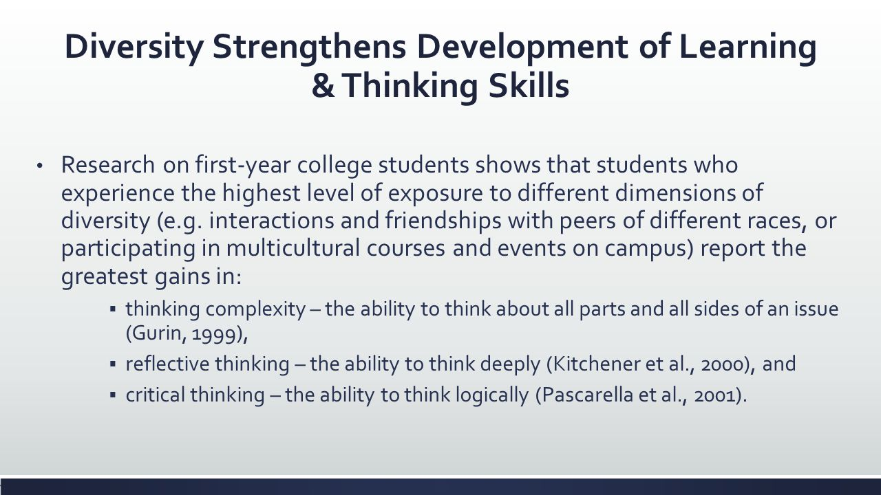 Diversity Strengthens Development of Learning & Thinking Skills Research on first-year college students shows that students who experience the highest