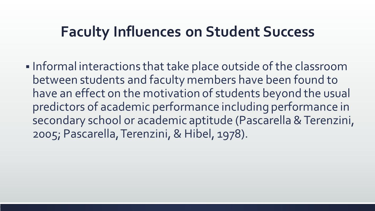 Faculty Influences on Student Success Informal interactions that take place outside of the classroom between students and faculty members have been fo