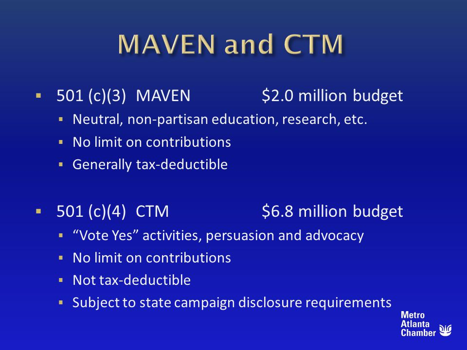 501 (c)(3) MAVEN$2.0 million budget Neutral, non-partisan education, research, etc.