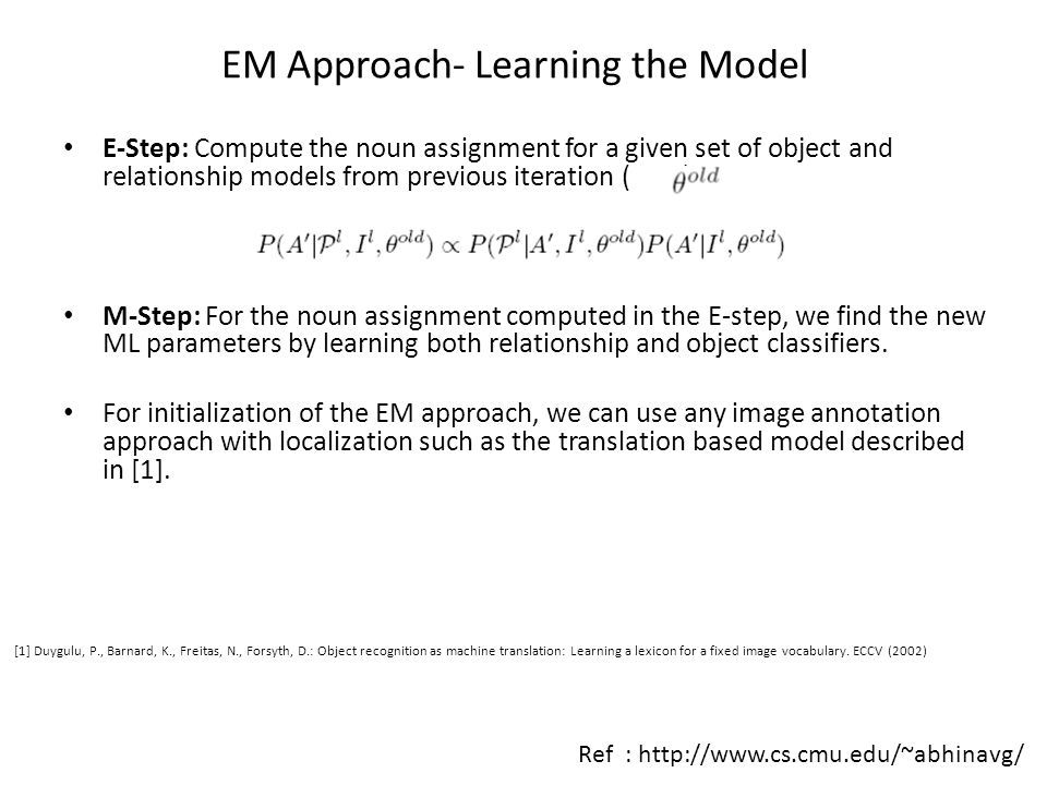 EM Approach- Learning the Model E-Step: Compute the noun assignment for a given set of object and relationship models from previous iteration ( ). M-S