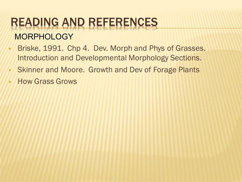 Briske, 1991. Chp 4. Dev. Morph and Phys of Grasses. Introduction and Developmental Morphology Sections. Skinner and Moore. Growth and Dev of Forage P