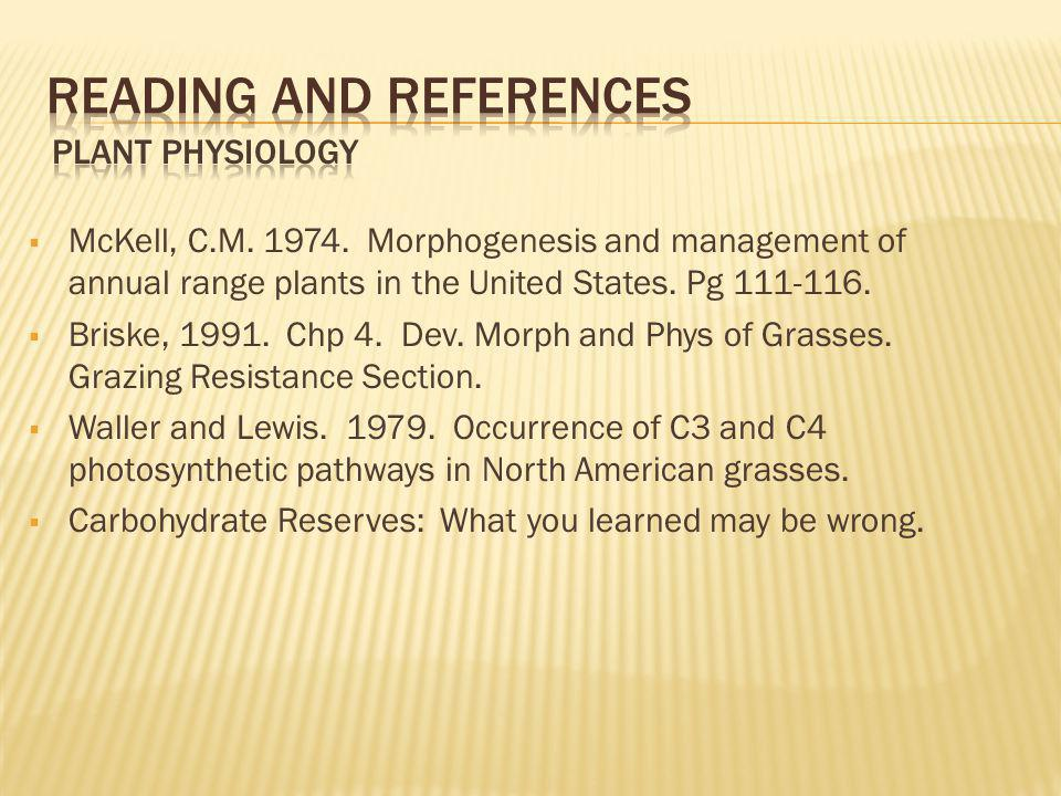 McKell, C.M. 1974. Morphogenesis and management of annual range plants in the United States. Pg 111-116. Briske, 1991. Chp 4. Dev. Morph and Phys of G